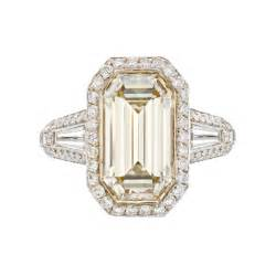 Emerald Cut Diamond Ring Champagne
