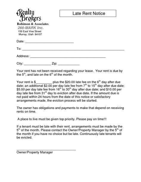 late rent notice template images sample late rent notice