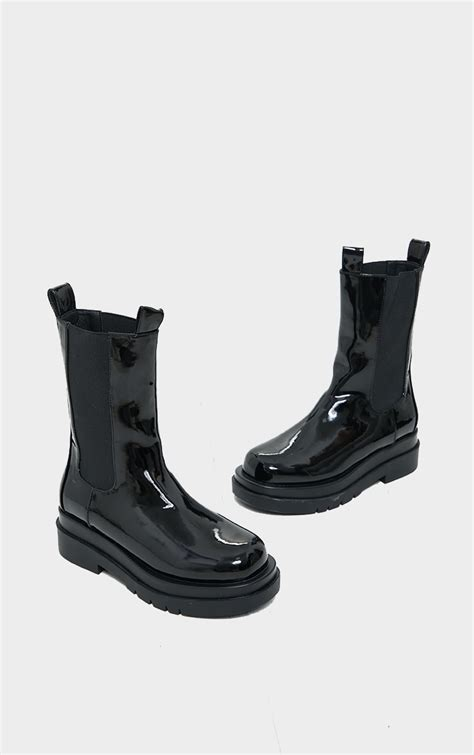 Black Pu Patent Chunky Sole Chelsea Boots ...