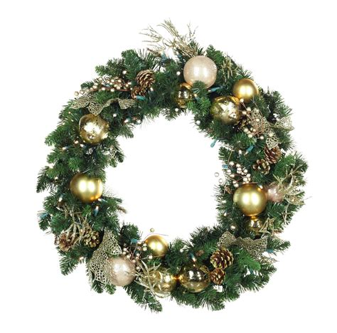 decorative wreaths royal gold battery operated led