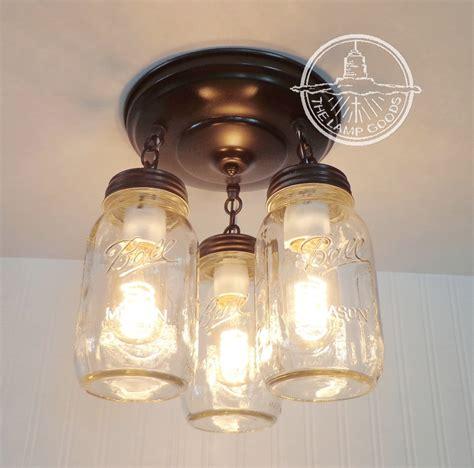 ceiling fan with mason jar lights mason jar light new quart trio flush mount ceiling fan