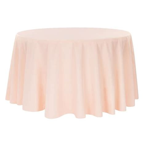"Economy Polyester Tablecloth 120"" Round Blush/Rose Gold"