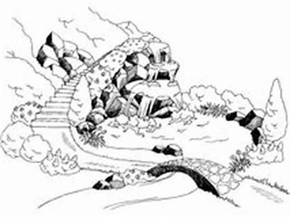 Waterfall Landscape Cascata River Graphic Park Illustrazione