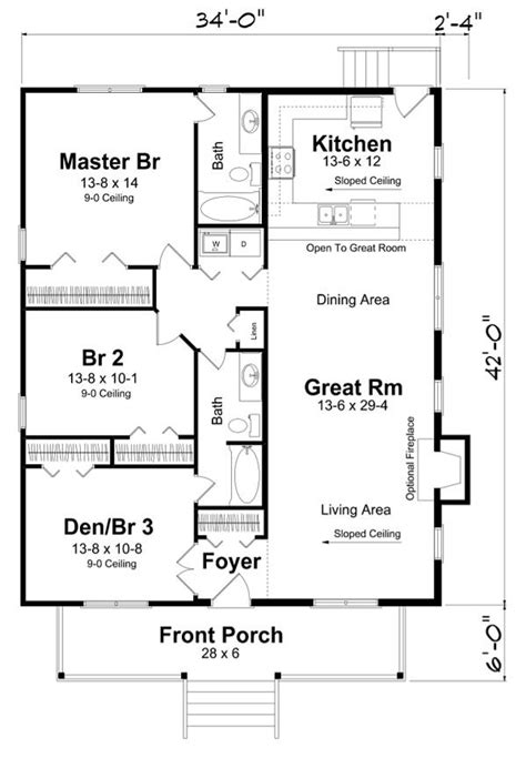 rectangle house plan   bedrooms  hallway