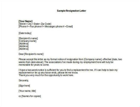 write  professional resignation letter