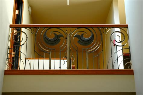 custom  forged art deco style railing  cherry