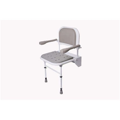 folding shower seat w b1098ith legs back arms padded