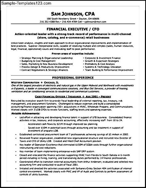 Cfo Cv Template Doc by Cfo Resume Exles Sle Templates
