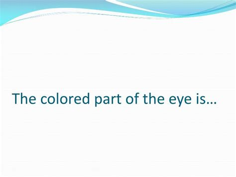 what is the colored part of the eye called ppt the human eye powerpoint presentation id 2929463