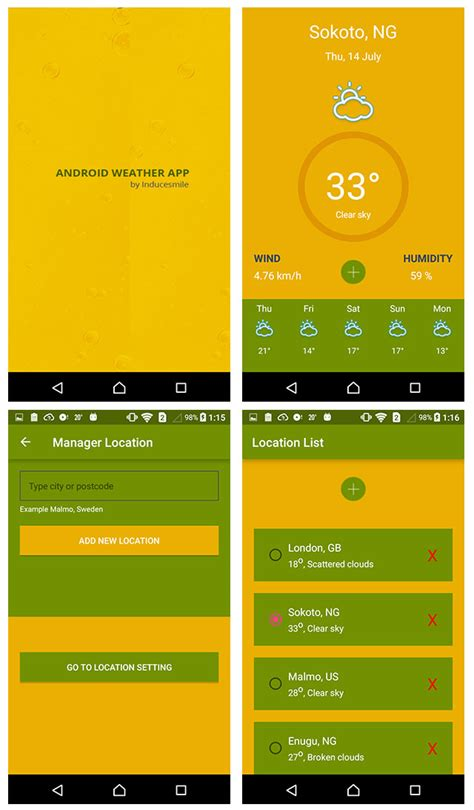 android weather app create a beautiful android weather app using