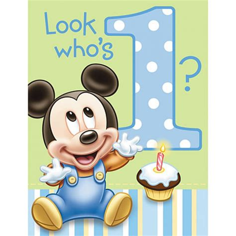 invitations anniversaire mickey mouse 1 an pas cher