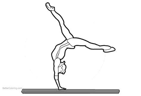 gymnastics coloring pages balance beam  printable