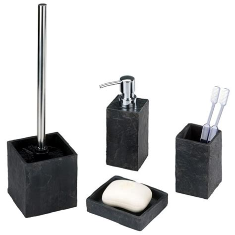 Wenko Slate Rock Bath Accessories Set At Victorian Plumbing Uk