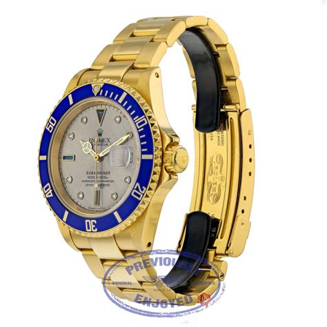 Rolex Submariner 40mm Yellow Gold With Silver Serti Dial ...