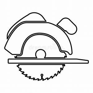 Manual Circular Saw Icon Black Color Illustration Flat