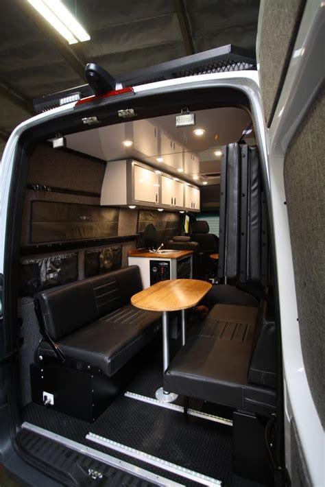 rear dinettebed setup   sprinter vans black