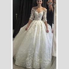 Luxury Appliqued Half Sleeve Wedding Dress With Brading
