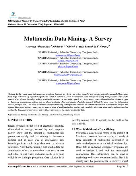 multimedia data mining  survey