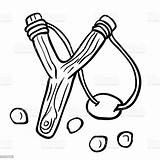 Slingshot Simple Cartoon Vector Aggression Ancient Illustration sketch template