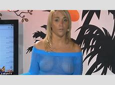 Miami TV host presents without a bra in racy sheer dress