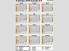 April 2019 Calendar Canada monthly printable calendar