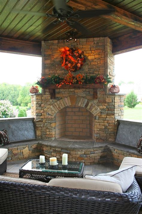 stone fireplace  bench seating diy patio outdoor