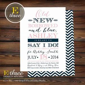 bridal shower invitation pink and navy old new borrowed With borrowed blue wedding invitations