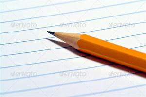 Sharp Writing Pencil on Ruled Paper Sheet Stock Photo by ...