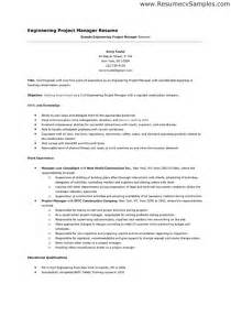 engineering program manager resume exles pin engineering project manager resume exles on