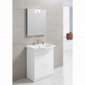 Meuble vasque 65 cm blanc bianca leroy merlin for Salle de bain design avec meuble sous vasque bois castorama