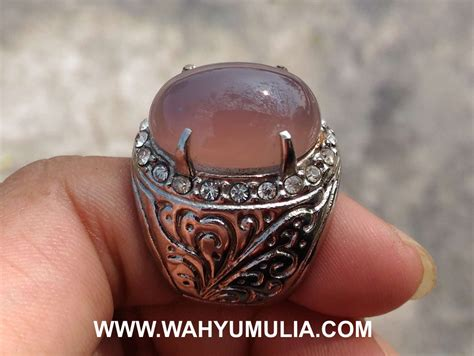batu cincin akik lavender ungu purple chalcedony kode