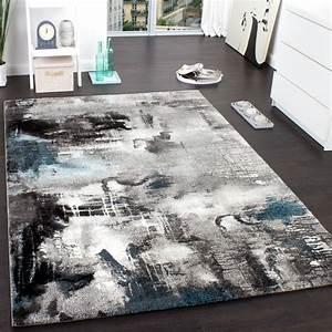 Teppich Türkis Grau : teppich modern designer teppich leinwand optik meliert grau t rkis creme wohn und schlafbereich ~ Markanthonyermac.com Haus und Dekorationen