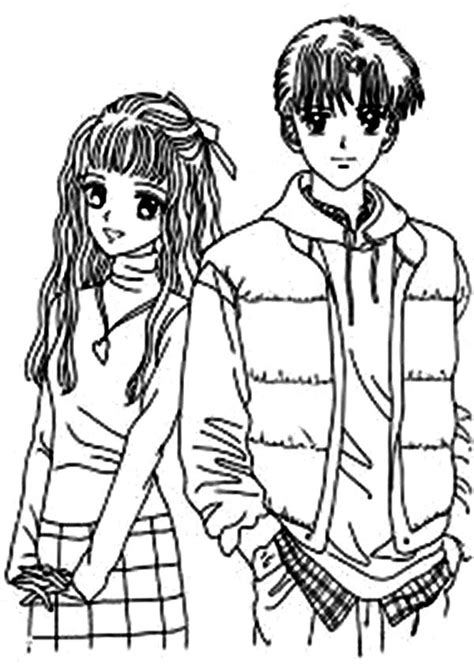 couple picture  japan animation anime coloring page coloring sky