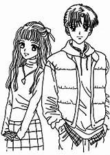 Coloring Anime Couple Animation Japan Coloringsky Chibi Sheets Adult Sleeping Printable Templates Cartoon Romantic Farm Sketch Template sketch template