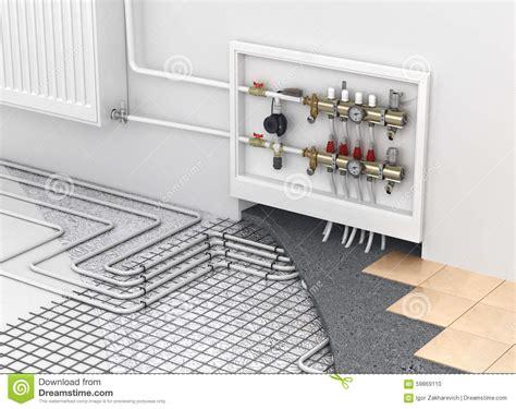 Fußbodenheizung Mit Heizkörper by Bodenheizung Mit Kollektor Und Heizk 246 Rper Im Raum Conc