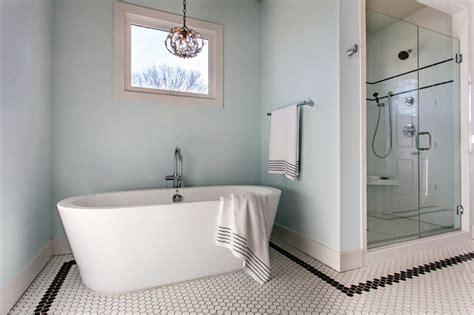 glam bathroom master bath soaking tub with glam pendant farmhouse Farmhouse
