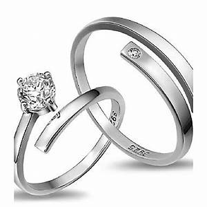 2pcs sterling silver ring sample cz couple rings for Sample of wedding rings