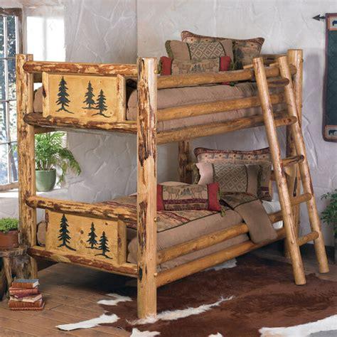 rustic bunkbed frame country western cabin log wood