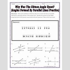 Parallel Lines  Angles Formed By Parallel Lines Riddle Worksheet