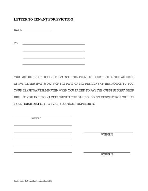 printable sample tenant  day notice  vacate form