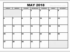 Blank May 2018 Calendar Templates Printable Download