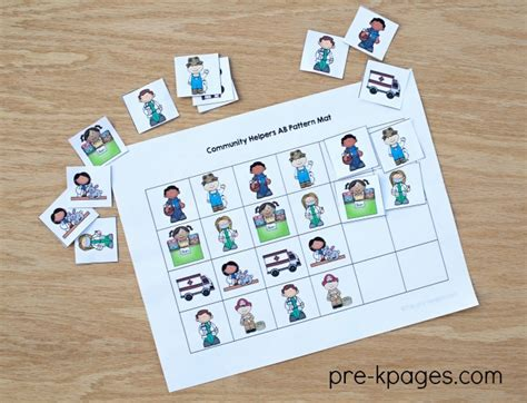 community helpers theme for preschool 373 | Community Helper Printable Patterning Activity for Preschoolers