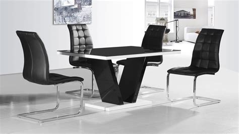 modern black glass high gloss dining table  chairs