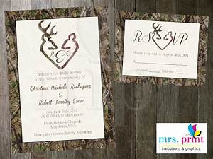 camo deer hearts wedding invitation and rsvp card by mrsprint With free printable deer wedding invitations