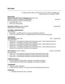 specimen resume for undergraduate sle resume