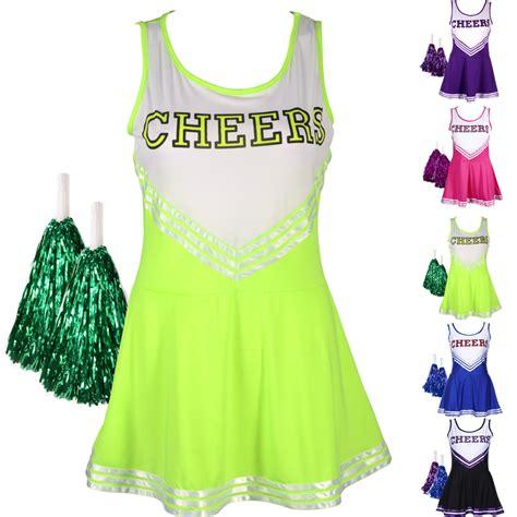 HIGH SCHOOL MUSICAL CHEER GIRLCHEERLEADER UNIFORM COSTUME OUTFIT W/ POM POMS   eBay