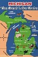 State Map of Michigan, Great Lakes, Canada, Detroit etc ...