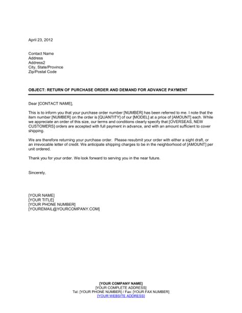 request advance payment letter format letter format 2017