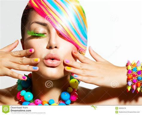 Colorful Makeup Hair And Accessories Stock Photo Image