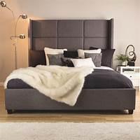 king size bed headboard Modern King Size Bed Frame Bedrrom Furniture Upholstered Headboard Platform Beds | eBay